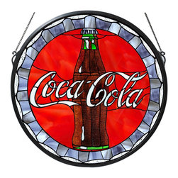 """Meyda Tiffany - Meyda Tiffany Meyda Originals Round Tiffany Window Art in Tiffany Items - Shown in picture: Coca-Cola Bottle Cap Medallion Stained Glass Window; One Of The Most Recognizable And Iconic Symbols Of Our Time """"Coca - Cola"""" A True American Original Has Teamed Up With Another True American Original """"Meyda Tiffany"""" To Offer These Beautiful One Of A Kind Stained Glass Windows."""