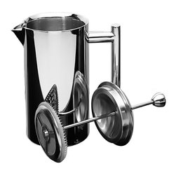 Frieling - French Press, Mirror Finish, 18/10 stainless steel, 16 oz. - Superior quality, double-wall insulated: 18/10 stainless steel retains heat 4 times longer than a glass press.  All steel mesh plunger mechanism. Built to stand the test of time. Should replacement parts ever be needed, they are available. All parts are dishwasher safe; no need to disassemble.