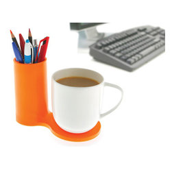 j-me deisngs - Jot Desk Coaster and Pen Holder, Red - Jot is a colourful desk accessory which allows you to bring together two of your desk's most essential items; your mug & your pens! It has the ability to hold a much needed caffeine hit right next to your favourite pens so you're ready for the working day. Your desk will certainly be the envy of others with this modern & minimalist desk piece.