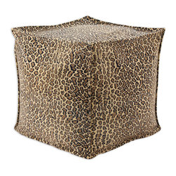 """Chooty - Chooty Bobcat Camel Simply Soft Collection 17"""" Square Seamed Beads Hassock - Insert EPS Styrofoam Beads, Fabric Content 65 Poly 35 Cotton, Color Camel, Brown, Black , Ottoman 1"""