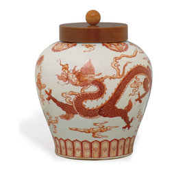 Port 68 - Dragon Spice Jar - Bring a sense of drama to your kitchen or dining room with this hand-painted porcelain Dragon Spice Jar. The Mandarin jar features original dragon motif artwork inspired by the Ming dynasty. The wooden lid allows for easy accessibility and storage.