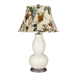 "Color Plus - Contemporary West Highland White Gray Botanical Double Gourd Lamp - Exclusive West Highland White designer color. Gray botanical print bell shade. Hand-crafted lamp. From the Color + Plus lighting collection. Maximum 150 watt or equivalent bulb (not included). 29 1/2"" high. Shade is 10"" across the top 17"" across the bottom 11"" on the slant.   Exclusive West Highland White designer color.  Gray botanical print bell shade.  Hand-crafted lamp.  From the Color + Plus lighting collection.  Maximum 150 watt or equivalent bulb (not included).  29 1/2"" high.  Shade is 10"" across the top 17"" across the bottom 11"" on the slant."