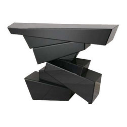 Uttermost Tauri Modern Console Table - Contemporary table formed of sculptural shapes with facets of sleek, black beveled glass covering every angle. Contemporary table formed of sculptural shapes with facets of sleek, black beveled glass covering every angle.