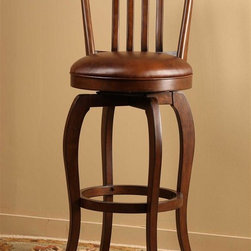 Hillsdale - Swivel Stool (26 in. Counter Height) - Choose Size: 26 in. Counter HeightSophisticated and musically inspiredSolid hardwoodRectangular back360 degree swivel. 17 in. W x 26 in. D x 39 in. H (19 lbs.)Sophisticated and musically inspired, the Kayden Bar Stool has class to spare. Constructed of solid hardwood and featuring a rectangular back with details reminiscent of notes on sheet music. The Kayden Stool has a 360 degree swivel seat covered in antique brown fabric. The Kayden is