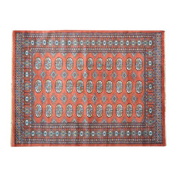 100% Wool Red Bokara 4' x 6' Tribal Design Hand Knotted Oriental Rug SH15560 - This collections consists of well known classical southwestern designs like Kazaks, Serapis, Herizs, Mamluks, Kilims, and Bokaras. These tribal motifs are very popular down in the South and especially out west.