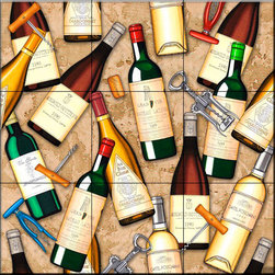 The Tile Mural Store (USA) - Tile Mural - Wine Bottle Toss   - Kitchen Backsplash Ideas - This beautiful artwork by Dan Morris has been digitally reproduced for tiles and depicts a wine collage.    Our decorative tiles with wine are perfect to use for your kitchen backsplash tile project. A wine tile mural adds elegance and interest to your kitchen wall tile area and makes a wonderful kitchen backsplash idea. Pictures of wine on tiles and images of wines bottles on tiles and wine glasses on tiles is timeless and these decorative tiles of wine blend with any decor. Your kitchen will come to life with a tile mural featuring wine.