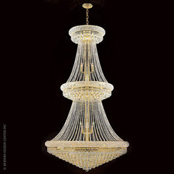 Worldwide Lighting Empire Chandelier W83038G42 - Worldwide Lighting Empire Collection 38 light Gold Finish and Clear Crystal Chandelier Two 2 Tier