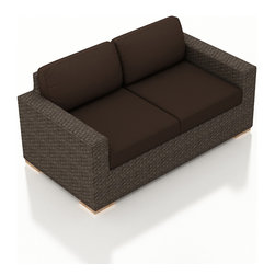 Harmonia Living - Arden Modern Outdoor Loveseat, Spectrum Coffee Cushions - Cozy up to the Arden Outdoor Wicker Loveseat with Brown Sunbrella Cushions (SKU HL-ARD-LS-CH-CO) to enjoy your outdoor space in style. Its beautiful wicker is finished with a weathered Chestnut finish and is made from High-Density Polyethylene (HDPE), which ensures that the wicker will neither fade nor peel in regular sun exposure. What makes the Arden Collection unique is its high arms, modern style, and extra-plush cushions, all with a hint of classic traditional looks. Its teak feet elevate the seats in an attractive fashion that accent the wicker. The cushions are made from Sunbrella fabric, which is available in a large assortment of shades to give your Arden set the look that fits right into your outdoor space.