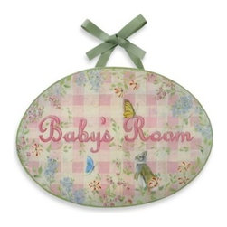 "Stupell - Girl Baby's Room Wall Plaque - Adorable and charming oval plaque features a beautiful lithograph with original artwork by Jane Farrimond. ""Baby's Room"" is surrounded by a sweet floral design accented with butterflies and a curious rabbit."