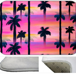 Palms On Pastel Plush Bath Mat, 20X15 - Bath mats from my original art and designs. Super soft plush fabric with a non skid backing. Eco friendly water base dyes that will not fade or alter the texture of the fabric. Washable 100 % polyester and mold resistant. Great for the bath room or anywhere in the home. At 1/2 inch thick our mats are softer and more plush than the typical comfort mats.Your toes will love you.