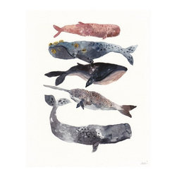Five Whales Stacked - Archival Print - Lately I've been looking at the ways to bring coastal style indoors in different ways. This group of whales is beautifully rendered and is definitely on my Etsy wish list!
