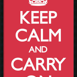 Amanti Art - Keep Calm (Red) Framed with Gel Coated Finish by Vintage Repro - A slogan created on the eve of WWII by the English is as significant today as it was back then. This 'Keep Calm and Carry On' print features the Crown of King George VI set against a red background.