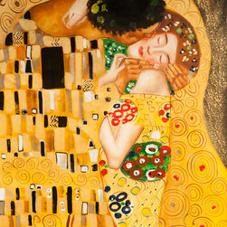 """overstockArt.com - Klimt - The Kiss - 24"""" X 36"""" Oil Painting On Canvas Hand painted oil reproduction of a famous Klimt painting, The Kiss. The original masterpiece was created in 1907-08. Today it has been carefully recreated detail-by-detail, color-by-color to near perfection. Gustav Klimt, the Vienna master painted the Kiss oil painting in 1907. The painting depicts a couple surrounded by a gold blanket and ornaments sharing a moment of shear passion - the perfect kiss. In the oil and gold masterpiece, the man appears standing as he holds in his arms the kneeling woman. The two seem to be positioned on a flower field, kissing, totally engaged with one another. The woman seems to be following the lead of her partner, but is not taking an active part. The patterns of the man are mostly black and white rectangles, while the woman is engulfed in flowers. The identity of the people depicted in this oil painting is not exactly clear; some suggest that it is Klimt himself and his beloved partner, Emilie Floge. However, that is sheer speculation as Klimt made it a point never to paint himself. Gustav Klimt (1862-1918) was one of the most innovative and controversial artists of the early twentieth century. Influenced by European avant-garde movements represented in the annual Secession exhibitions, Klimt's mature style combines richly decorative surface patterning with complex symbolism and allegory, often with overtly erotic content. This work of art has the same emotions and beauty as the original. Why not grace your home with this reproduced masterpiece? It is sure to bring many admirers!"""