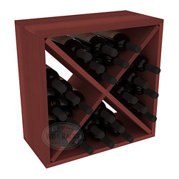 "Wine Racks America - 24 Bottle Wine Storage Cube in Premium Redwood, Cherry Stain - A wine rack focused on flexibility; buy 1 or buy 100. Perfect for stacking, filling small spaces, and converting that ""underneath"" space into wine storage. Mix and match finishes to illustrate your true wine-lover's spirit or contrast colors for a modern wine rack twist."