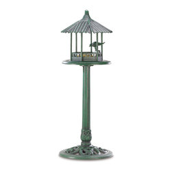 KOOLEKOO - Verdigris Gazebo Standing Bird Feeder - The classic look of weathered copper is perfectly captured in this amazing lightweight standing birdfeeder! You'll delight at the luxurious appearance of this glorious garden accessory, from the fluted rooftop to the intricately detailed base.