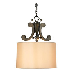 Currey and Company - Oberon Pendant - A simple shade is made into an elegant pendant with forged iron curves and embellishments to hold the shade. A Bronze Verdigris finish is the appropriate accompaniment to the neutral shade.