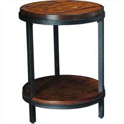 """Hammary - Baja Round End Table in Vintage Umber Finish - """"From a million forgotten attics and sleepy antique stores, we rescued the beauty and charm of another era -early 20th-century industrial America."""