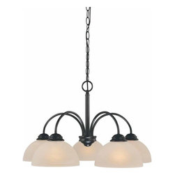 Volume Lighting - Volume Lighting V2275 Bernice 5 Light 1 Tier Chandelier - Five Light 1 Tier Chandelier from the Bernice CollectionGorgeous and flawless, this 5 light chandelier features 1 tier and fantastic alabaster glass.Features: