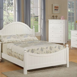 Cottage Style White Finish Wood Kids Full Panel Bedroom Set - Set Includes Kids Full Panel Bed, 1 Night Stand, 1 Dresser, 1 Mirror