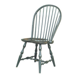 Designs in Wood - Designs in Wood Windsor Side Chair - The classic country style of the Windsor chair creates a timeless and rustic mood with this side chair and its rounded spindle back and carved legs. Slightly distressed to show character marks and personalized charm, this dining chair makes a comfortable and elemental statement to enhance the inviting nature of your room. Crafted with these attributes, the accent chair creates traditional ambiance:Crafted from real maple woodSatin lacquer black finishMade to order in the USAThis special-order item is just that: made especially for you. We unfortunately cannot accept returns on custom merchandise