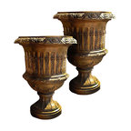 Pair of Vintage Highly Ornate Louis XV Style Bronze Urn Vases - Very Nice pair of Highly Ornate Reproduction French Empire Vase / Urn (s)
