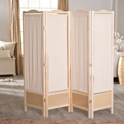 Finley Home - Brooks Canvas 4 Panel Room Divider - Natural Multicolor - 85069 - Shop for Room Dividers from Hayneedle.com! With its authentic wood-grain style the Brooks Canvas 4-Panel Room Divider - Natural Frame will breathe fresh vitality into your decor. A color variation between the panel and recessed frame adds a subtle but undeniably bold touch of style. Beige canvas material is pulled taut to make screens. The screens can be removed for easy cleaning or for customization. Just switch out the fabric to match your decor. Double-hinged panels provide arrangement flexibility for the demanding decorator. The unfinished frame has an earthy quality that allows it to play a strong role in traditional and modern motifs.About Finley HomeFinley Home was created to ensure that your needs wants and desires regarding home furnishings and decor are met with ease. Offering a well-appointed mix of both current and classic designs all with functional style at exceptionally affordable prices Finley Home's unique pieces and collections are ideal for keeping pace with today's ever-evolving lifestyles. Simple silhouettes understated elegance and versatility define the Finley Home brand and make it one you'll return to for years to come.