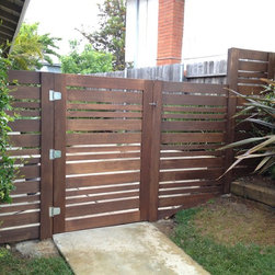 Custom Gates - Horizontal slatted cedar gate and fence