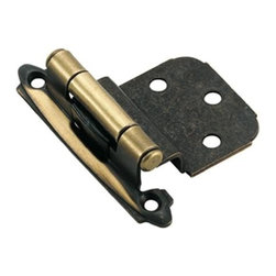 Amerock - Self-Closing Face Mount Hinge (Set of 10) - Functional Collection. Individually bagged with pads and screws. Heavy-duty steel construction. Exceeds all KCMA certification requirements and BHMS standards for cycle life, strength and finish quality. Reliable, self-closing power of dual compression springs. Antique Brass finish. 2 3/4 in. L x 2 in. W (0.2 lbs.). Projection: 3/4 in.. 3/8 in.