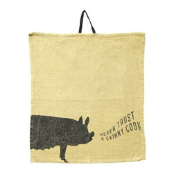 "Sugarboo Designs - Set of Oversized Napkins - Never Trust A Skinny Cook - A set of 10 stone washed linen napkins will add casual humor to your rustic tablescape. Soft yellow is the perfect background color for the silhouetted pig ""oinking"" out his expert advice. (SD) 20"" Square"