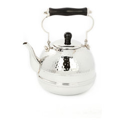 Old Dutch International - Stainless Steel Hammered Tea Kettle With Wooden Handle - Enjoy high tea anytime of the day. This elegant 2-quart hammered steel kettle will make you feel like you're at the Plaza. It features lovely curves and a gorgeous wooden handle and knob. Just add some fancy finger sandwiches to complete your own high tea.
