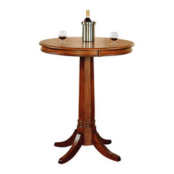 Hillsdale - Hillsdale Park View Round Bar Height Pub Table in Medium Brown Oak - Hillsdale - Pub Tables - 4186PTB - The Hillsdale Park View Pub Table is constructed from solid woods climate controlled wood composites and veneers. It features an elegant medium brown oak finish classic pedestal base and a round shaped wood top. Complete your decor with the matching Park View Bar Stools. Add traditional charm to your game room or kitchen with the Park View Pub Table.