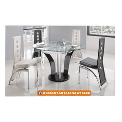"American Eagle Furniture - 506DT & 104CH White and Black 47"" Glass Top 5 Piece Dining Set - The 506DT & 104CH dining set is a great addition for any dining room that needs a touch modern design. The dining table has a round clear glass top with a 47"" diameter. The base of the table features a unique multicolored white and black flared out very modern design. The chairs come upholstered in a stunning white and black vinyl material with high density foam placed within the cushion for added comfort. The chairs have a unique open square design on the back that adds to the overall look. The frame of the chairs are crafted from polished stainless steel with the backrests extending down to the legs. The dining set consist of a dining table and four chairs only."