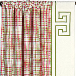 Eastern Accents - Portia Blight Rose Curtain Panel Set - Dress the room in luxury with a deluxe window treatment, crafted with excellence from the finest materials. The Blight Rose curtain panel set is cheerful and spirited with a feminine plaid in bright pink and grass green, accented with a green and ivory Greek key trim. These versatile curtain panels are made from high quality drapery fabric and include a medium weight 100% cotton lining. Set of two curtain panels is available in three sizes. Professional cleaning recommended.Dress the room in luxury with a deluxe window treatment, crafted with excellence from the finest materials. The Blight Rose curtain panel set is cheerful and spirited with a feminine plaid in bright pink and grass green, accented with a green and ivory Greek key trim. These versatile curtain panels are made from high quality drapery fabric and include a medium weight 100% cotton lining. Set of two curtain panels is available in three sizes. Professional cleaning recommended.