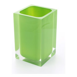 Gedy - Square Acid Green Toothbrush Holder - Decorative acid green colored square toothbrush holder or tumbler.