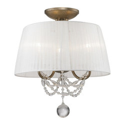 Golden Lighting - Golden Lighting 7644-SF GA Convertible Semi-Flush - Graceful sweeps are draped with crystal-clear glass beads