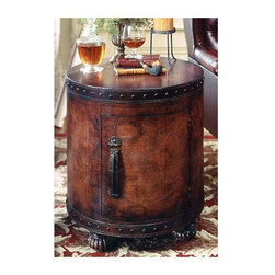 """Butler - Side Drum Table w Antique Leather Map Detail - With its Spanish styling and Nautical appeal, this Bordeaux leather side drum table subtly displays a map of antiquity on its tooled leather surface.  A touch release door reveals a crafty storage area, perfect for your finer aperitifs. * All surfaces tooled leather. Touch release door reveals storage area. Bordeaux Leather Finish20""""Diam. x 22""""H"""