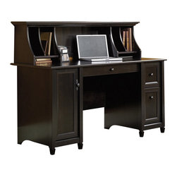 Sauder - Sauder Edge Water Computer Desk and Hutch Set in Estate Black - Sauder - Computer Desks - 408558408566PKG