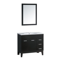 "Yosemite - Yosemite YVEC-040 Black  35-1/2"" Floor Standing Vanity Set with - Vanity Package Includes:Vanity cabinet constructed of hardwood materialCeramic vanity / counter topSingle basin bathroom sinkVanity Cabinet Features:Constructed of hardwood materialVanity features 3 full extension drawers providing ample concealed storage space – drawers operate on smooth ball-bearing glidesVanity features 1 full sized cabinet with matching doors providing ample storage spaceThis model is a complete package - base and top are includedThis fixture is highlighted by an included full sized mirrorComplete with matching decorative hardwareAll necessary parts and hardware for assembly and installation are includedSolid construction and assembly provides years of reliable performanceVanity Top Features:Vanity top is constructed of ceramic provides a sturdy feel and clean appearanceTop features a recessed single basin bathroom sinkCenter drain location provides optimal draining capabilityFaucet and waste assembly not included with this model - must be purchased separatelySturdy mounting assembly – ensuring safety and reliabilityAll hardware needed for installation is includedVanity Cabinet Specifications:Overall Height: 36"" (measured from ground level to highest point on vanity)Overall Width: 35-1/2"" (measured from left most to right most part on vanity)Overall Depth: 18"" (measured from back most to front most part on vanity)Mounting Style: FreestandingNumber of Drawers: 3Number of Doors: 2Number of Shelves: 0Vanity Top Specifications: Overall Width: 35-1/2"" (measured from left edge to right edge of vanity top)Overall Depth: 18"" (measured from back edge to front edge of"