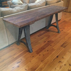 Industrial and Reclaimed Wood Console Table - Console table made from Antique Cast Iron Machine Legs from South Bend Lathe Company and Antique Reclaimed Heart Pine top