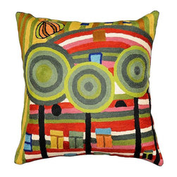 """Modern Wool - Hundertwasser Beloved Gardens Accent Pillow Cover Hand Embroidered 18"""" x 18"""" - Hundertwasser beloved gardens Accent pillow cover- We are in need of magic. I fill a picture until it is full with magic, as one fills up a glass with water. Friedensrich Hundertwasser paints beautiful distortions patterns in vibrant palettes and explosive colors based on Art Nouveau principles. The entire cotton base of the pillow is overlaid with soft wool, stitch by stitch, creating an extraordinary show piece for your decor. This is world-class workmanship created to enhance your world with dynamic color and motif."""