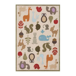 Momeni - Ivory Forest Animal Print Hand-Tufted Acrylic Rug - Lil Mo Whimsy LMJ-2 (2.0 ft. - Choose Size: 2.0 ft. x 3.0 ft. Rectangle. Hand-tufted. Mod-acrylic. Care InstructionForest critters, retro robots and mod flowers, oh my! Quirky motifs combine to put 'Lil Mo Whimsy in a class by itself. Hand-tufted of soft mod-acrylic, this collection features hand-carving for added texture and a vibrant color palette to make it as fun as it is unique.
