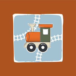 Homeworks Etc - Homeworks Etc Orange Train While Railway Blue Sky Canvas Wall Art - All aboard!  Enjoy this fun canvas wall art depicting an orange, green and white caboose with train tracks winding behind it.  Makes a great baby shower or birthday gift! It's lightweight design is easy to hang.  Finished orange edge with no framing required.  Canvas stretched over a wooden frame.  Measures 10 x 10 x 1.5-inches. Perfect for use in  a children's bedroom