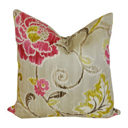 Lime And Fuchsia Flowers Pillow - Nothing enlivens a room like a burst of your favorite colors of lime and green!