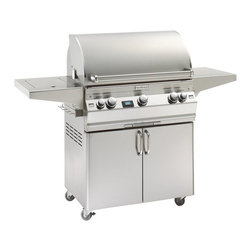 Fire Magic - Fire Magic Aurora A540s Cabinet Grill Multicolor - A540S - Shop for Grills from Hayneedle.com! Make sure the party never stops with the Fire Magic Aurora A540s Cabinet Grill. This compact grill is great for backyards decks porches and patios letting you tend to up to 15 burgers at one time. Its dual-burner surface features a recessed back-burner complete with a motorized rotisserie kit. A side-burner is also built into the design as well as a side-shelf prep area. The frame is made from durable cast stainless steel and features casters for mobility. An interior warming rack lets you slow-cook or keep extra food warm. An electronix ignition switch means you won't have to fumble when lighting the burners. A built-in thermometer (with meat probe) makes sure your meat is prepared perfectly without guesswork. Interior halogen lights are included for late-night cooking.About Fire MagicFire Magic understands more about the amazing things that happen when flame and good food meet. For the last 70 years they've set out to create the singularly best way to cook food outdoors using the highest-quality materials innovative design and an absolutely relentless pursuit of perfection. With a complete line of luxury-grade grills burners accessories and built-in grill island components Fire Magic is ready to turn your home into the world's best outdoor kitchen.