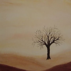 Painting by Flo -  Original Watercolor -  Solitary Tree - Original Watercolor Painting with neutral tones and calming atmosphere.