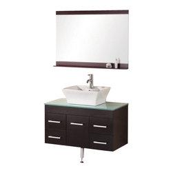 "Design Element - Design Element DEC1100A-36 Madrid 36"" Single Sink - Wall Mount Vanity Set - Design Element DEC1100A-36 Madrid 36"" Single Sink - Wall Mount Vanity Set in Espresso"