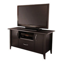 South Shore - South Shore Axess TV Stand in Chocolate Finish - South Shore - TV Stands - 4959661 - The elegant compact Axess TV Stand is perfect for living rooms or bedrooms with limited space. It features two compartments with doors one practical drawer and an open storage compartment. Stylish and functional the contemporary Axess TV Stand can match just about any decor.Features: