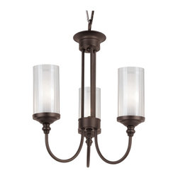 Trans Globe Lighting - 3 Light Double Glass Mini Chandelier - Featuring clear/frosted double glass, this three light chandelier is modern styling actualized. The curved arms compliment and accentuate the unique double glass cylinder shaped shades.