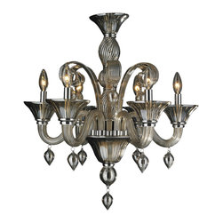 """Worldwide Lighting - Murano Venetian Style 6 Light Blown Glass in Golden Teak Finish Chandelier 23"""" x - This stunning 6-light Venetian Style Chandelier only uses the best quality material and workmanship ensuring a beautiful heirloom quality piece. Featuring a hand crafted quality golden teak (translucent champagne color) glass in traditional Italian style and gleaming Polished Chrome finish hardware that�s actually blown into the glass during the production process, this elegant chandelier is a work of art in its quality and beauty. Worldwide Lighting Corporation is a privately owned manufacturer of high quality crystal chandeliers, pendants, surface mounts, sconces and custom decorative lighting products for the residential, hospitality and commercial building markets. Our high quality crystals meet all standards of perfection, possessing lead oxide of 30% that is above industry standards and can be seen in prestigious homes, hotels, restaurants, casinos, and churches across the country. Our mission is to enhance your lighting needs with exceptional quality fixtures at a reasonable price."""