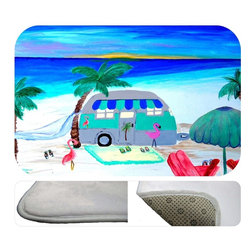 """usa - Air Stream On The Beach Bath Mat,  30"""" X 20"""" - Bath mats from my original art and designs. Super soft plush fabric with a non skid backing. Eco friendly water base dyes that will not fade or alter the texture of the fabric. Washable 100 % polyester and mold resistant. Great for the bath room or anywhere in the home. At 1/2 inch thick our mats are softer and more plush than the typical comfort mats. Your toes will love you."""